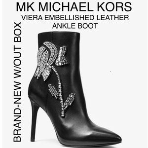 MICHAEL KORS VIERA EMBELLISHED LEATHER ANKLE BOOTS